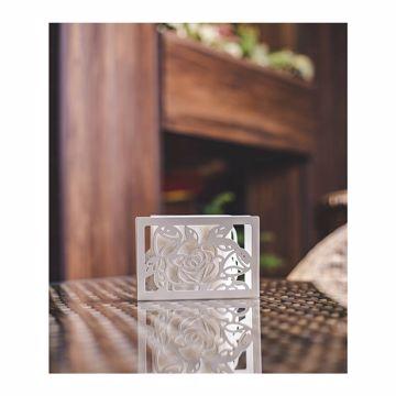 تصویر از جا دستمال سفید گل درشت استیل کد 12266 یک عددی