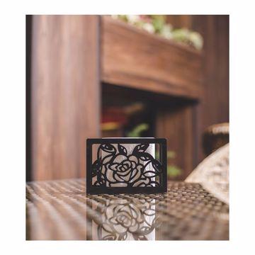 تصویر از جا دستمال مشکی گل درشت استیل کد 12267 یک عددی