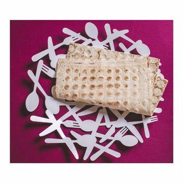 تصویر از ظرف نان استیل سفید طرح قاشق و چنگال وایت پلیت کد 12262 یک عددی