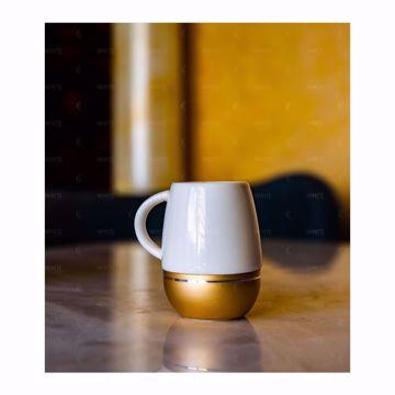 تصویر از قهوه خوری چینی خط دار طلایی آمبر وایت پلیت کد 3305.1 شش عددی